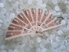 vintage Celluloid soft pink fan  hair barrette