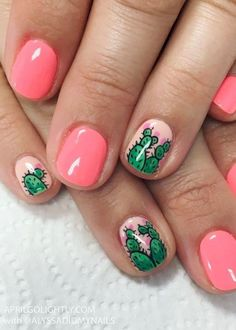 32 Summer and Spring Nails Designs and Art Ideas Cactus Nail Designs for Summer Spring Nail Art, Nail Designs Spring, Toe Nail Designs, Art Designs, Nail Designs For Kids, Fruit Nail Designs, Nails Design, Design Ideas, Acrylic Nails Natural