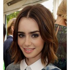 Learn How to Rock a Tousled Shoulder-Length Bob Just Like Lily Collins ❤ liked on Polyvore featuring lily collins, girls, hair and people