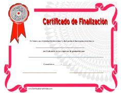Certificado de Finalizacíon para imprimir los certificados, gratis para descargar e imprimir