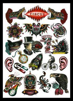 Circus Tattoo Flash