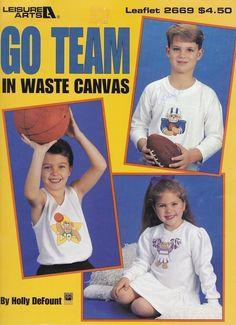 Cross Stitch Pattern Sports Go Team Football Cheerleader Gymnast Baseball #LeisureArts #WasteCanvasClothing