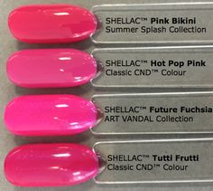 Future Fuchsia_Art Basil CND Shellac Art Vandal comparison _feewallace Pink Shellac, Neon Pink Nails, Shellac Nail Colors, Shellac Nails, Pretty Nail Colors, Pretty Nails, Cnd Colours, Manicure Y Pedicure, Tutti Frutti