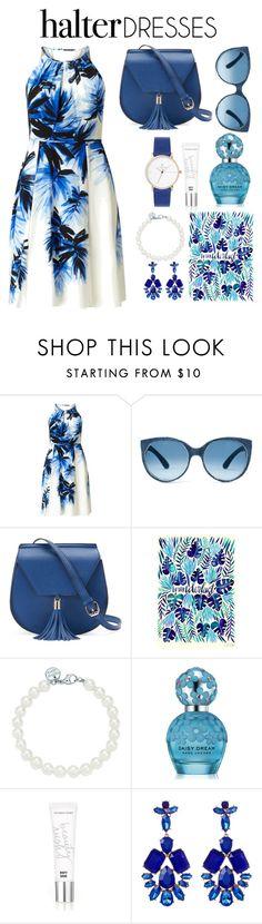 """blue"" by katjusa-salemovic ❤ liked on Polyvore featuring Adrianna Papell, Yoki, Tiffany & Co., Marc Jacobs, Beauty Rush, Natasha Accessories and halterdresses"