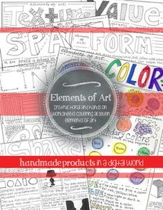 This worksheet covers all seven of the Elements of Art: Color, Shape, Form, Line, Texture, Space, Value. The front of each worksheet includes pictures and information about each element of art. The back of the worksheet is full of activities for the students to complete to help reinforce the information covered on the front.