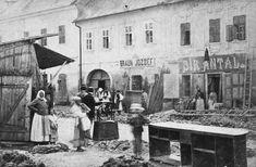 MAGYARORSZÁG EGER Zalár József (Oroszlán) utcai házak a mai Gárdonyi Géza tér és a Dobó István (Piacz) tér között. A fotó 1878-ban készült.  Családi házak Egerben eladók...  #profHOUSEhu #ingatlan #eger #családiház #eladó #DobóIstvántér #házak #ZalárJózsef  photo:fortepan Hungary, Painting, Art, Art Background, Painting Art, Kunst, Paintings, Performing Arts, Painted Canvas