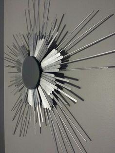 A closer look at my sunburst mirror!  #sun #sunburst #popsiclesticks #kebabskewers #spraypaint #mirror #diy #decoration #wall #hanging #ornament #craft #cheap #dollarstore