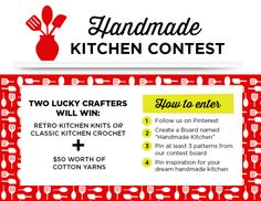 Welcome to the Handmade Kitchen Contest! Two lucky winners will get their pick of Retro Kitchen Knits or Classic Kitchen Crochet PLUS $50 worth of cotton yarn!