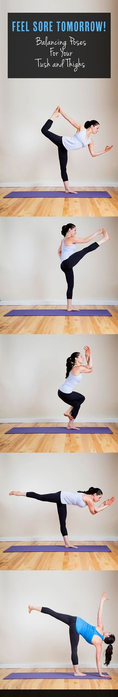 One-legged balancing poses may look serene, but stringing them one after another offers one of the best butt-burners you'll ever feel. The trick to a tighter tush? Do these five poses in this exact order, repeating the sequence three times before
