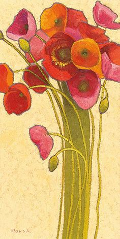 Amapola Barcelona/Poster by Shirley Novak  I like the 'arts and crafts' style of the stems