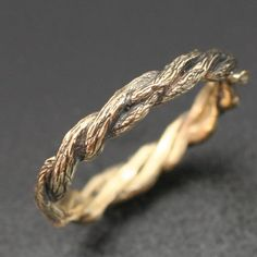 NARROW TWISTED TWIGS Band. Delicate 3mm width. This ring in 14k yellow or white gold. $545.00, via Etsy.