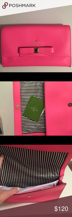 Kate Spade Neon Pink Clutch Adorable Kate Spade neon pink clutch with bow, gold stud and logo. Worn 2X. Comes with dust bag and green pamphlet.  All reasonable offers considered. kate spade Bags Clutches & Wristlets
