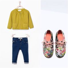 Zara Girl Cardigan, Jeans & Floral Shoes