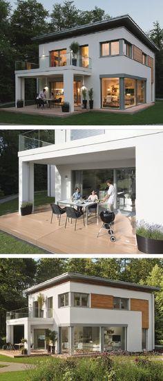 Einfamilienhaus modern mit Flachdach Architektur & Pergola Terrasse - Haus bauen Fertighaus City Life 700 Passivhaus von WeberHaus - HausbauDirekt.de