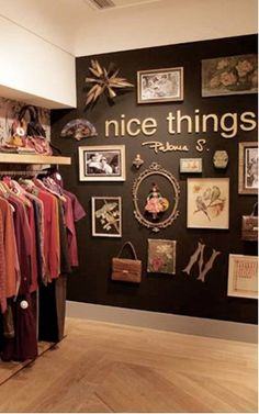 black wall-gold frames-cool corner in a dark themed closet