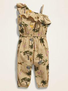 Printed One-Shoulder Linen-Blend Jumpsuit for Baby Baby Dress Design, Frock Design, Safari Outfits, Kids Outfits, Moda Safari, Baby Jumpsuit, Jumpsuit For Kids, Dresses Kids Girl, Simple Dresses