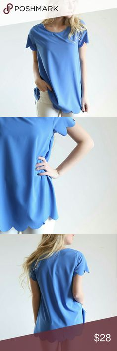 Blue Scalloped Blouse Blue scalloped blouse from Piper and Scoot. Darling shirt. Make me an offer! Piper & Scoot  Tops Blouses
