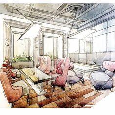 """ถูกใจ 1,508 คน, ความคิดเห็น 8 รายการ - Interiors/Sketches (@tihomirov_sketch) บน Instagram: """"Interior sketching #interiorsketching #interiorsketcher #sketching #artwork #arqsketch #drawing…"""" Diy Furniture Decor, Outdoor Furniture Chairs, City Furniture, Kitchen Furniture, Office Furniture, Vintage Furniture, Bedroom Furniture, Interior Design Renderings, Interior Rendering"""