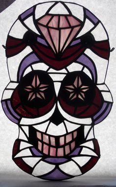 Pink Stained Glass Sugar Skull Decorative Art by RiffRaffGlass
