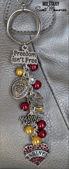 Marine Mom, Military Mom, Proud Marine Mom, Marines, Marine Wife MARINE Mom Freedom isn't Free Purse Charm by MilitarySweetMemorie