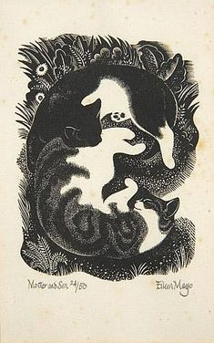 Eileen Mayo Mother and Son Woodblock print, ltd