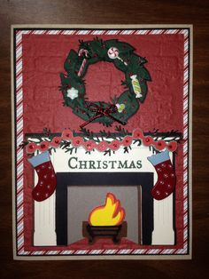 Fireplace card using cricut cartridges, joys of the season and Christmas cheer. Christmas card.