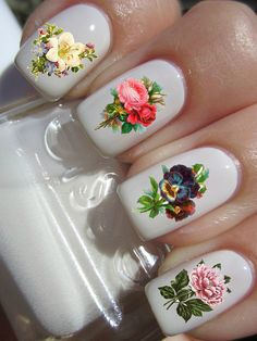 Vintage Flower Nail Decals by PineGalaxy on Etsy, $4.50