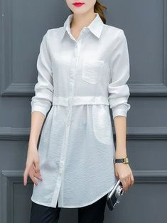 Long Sleeve Casual Pockets Shirt Collar Blouse - Shirt Casuals - Ideas of Shirt Casual - Long Sleeve Casual Pockets Shirt Collar Blouse Long Shirt Outfits, Dress Shirts For Women, Clothes For Women, Long Shirts, Stylish Dress Designs, Designs For Dresses, Stylish Dresses, Hijab Fashion, Girl Fashion