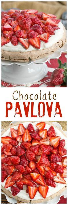 Chocolate Pavlova   An exquisite chocolate meringue with cream and berries /lizzydo/