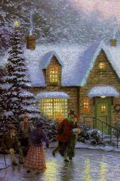 Christmas Scenery, Christmas Artwork, Magical Christmas, Christmas Paintings, Vintage Christmas Cards, Retro Christmas, Christmas Bells, Christmas Wallpaper, Christmas Wishes
