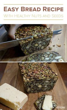 Bread that is made completely of nuts and seeds! Get this stone age, nordic recipe here: Healthy Bread Recipes, Banana Bread Recipes, Snack Recipes, Cooking Recipes, Healthy Bread Alternatives, Healthy Breads, Nut And Seed Bread Recipe, Healthy Nuts And Seeds, Nordic Diet