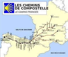 the different Routes from France to St Jacques de Compostelle