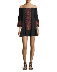 TC26N Nightcap Clothing Santorini Off-The-Shoulder Embroidered Dress, Black