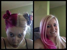 Part your hair perfectly down the middle and dye one half (the opposite side of your part) a cute color like pink. When you part your hair it will have stripes <3