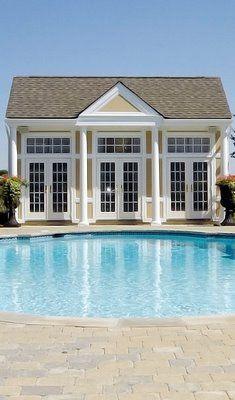 Pictures of pool houses - pool house via myLusciousLife.com.jpg