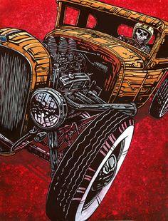Dead Heat by David Lozeau Skeletons Hot Rod Racers Canvas Art Print – moodswingsonthenet