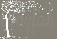 Vivaio parete decalcomania angolo con uccelli baby di birdyfish