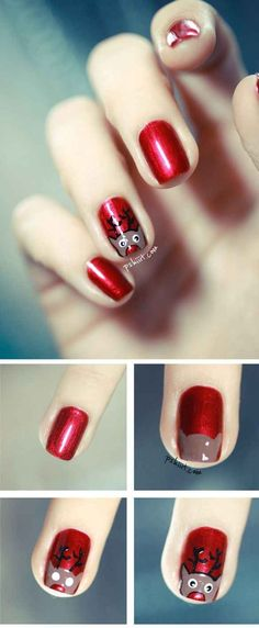 Rudolph the Red Nosed Reindeer | 21 Easy Holiday Nail Designs