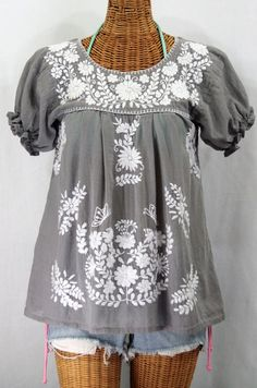 "Finally back in stock!  Siren's ""La Mariposa Corta"" Embroidered Mexican Style Peasant Top in Grey with White Embroidery, $44.95."