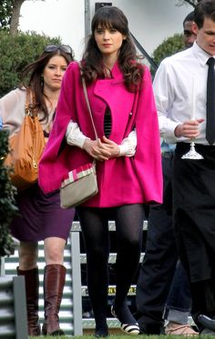 Zooey Deschanel recently rocked a Corey Lynn calter cape on the L.A. set of New Girl.