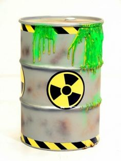 This link shows you a few designs for Toxic Waste Barrels http://www.eventprophire.com/themes/apocalyptic/toxic-waste-barrel