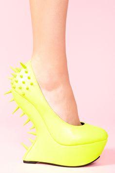Bright NEON Yellow! via Nastygal- Jolt Spike Platform #shoes #heels #neon #wedges #yellow #spikes