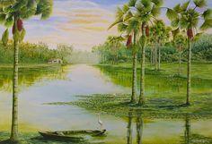 Buriti (2006), acrílico sobre tela de Jeriel.Dimensões:182 x 130cm.Coleção Particular -AP.