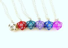 D20 Dice Necklace Silver Chain, Geekery D20, D20 Necklace, Gamer, Nerdy Wedding, Geek, Dungeons and Dragons, Pathfinder
