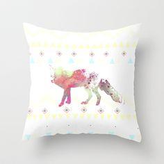 Watercolor native fox Throw Pillow by Nika  - $20.00 #watercolor #native #fox #wild #animal #pillow #home #decor #white #coolpillows #homewares #teens #nika #society6 #society6pillows