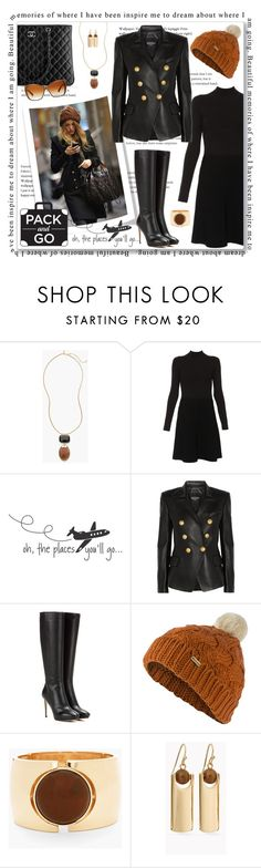 """""""Blake Lively Pack & Go"""" by leanne-mcclean ❤ liked on Polyvore featuring Chico's, Chanel, Paule Ka, WALL, Balmain, Jimmy Choo, Barbour and Oliver Peoples"""