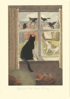 IA5 WHEN THE CAT IS AWAY by Alison Friend - A Two Bad Mice Greeting Card