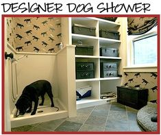 Love this idea for a dog room, with shower and room for the kennel by joanna