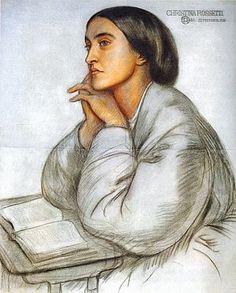 Christina Rossetti by Dante Gabriel Rossetti, 1866, coloured chalk on blue–gray paper