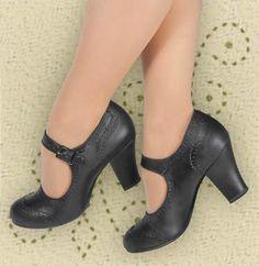 Look #7 [2pr. size 8 ordered] - Aris Allen Black 1940s Heeled Wingtip Mary Jane Swing Dance Shoe. $69.95 USD | dancestore.com